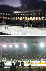 Erste Bank Ice Hockey League in the ancient Pula Arena
